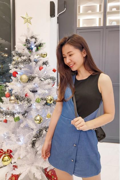 Tara Asymmetrical Denim Knit Jumpsuit